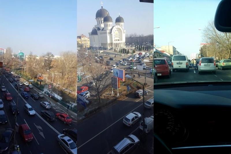 [BREAKING NEWS] Intersecţia de la Podgoria blocată de un accident pe Corneliu Coposu în dreptul Casei de Cultură a Sindicatelor (Foto)