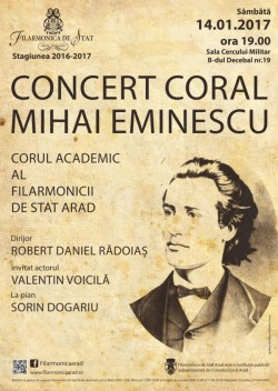 """Concert coral """"Mihai Eminescu"""" și un recitator extraordinar – actorul Valentin Voicilă"""