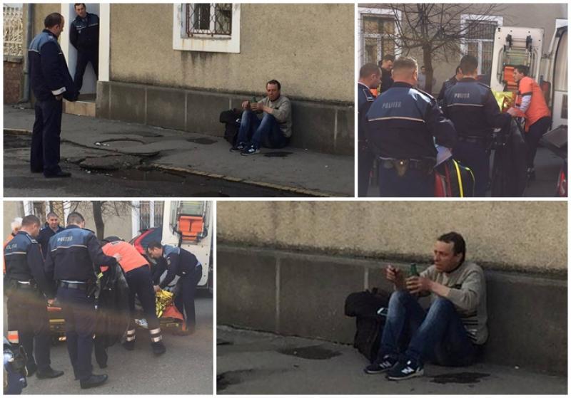 Un bărbat şi-a dat foc în faţa serviciului de paşapoarte de pe strada Vicenţiu Babeş! (FOTO / VIDEO) EXCLUSIV