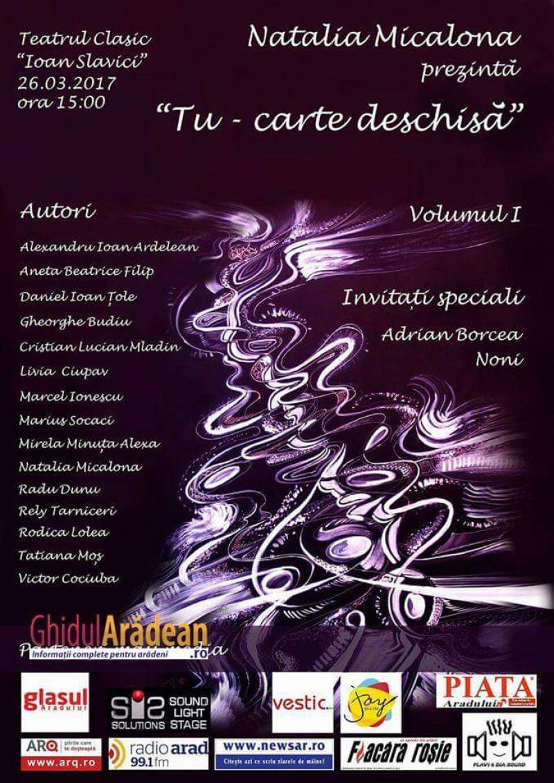 """Lansare de carte a cunoscuților artişti arădeni , intitulată """"Tu-carte deschisă"""" !"""