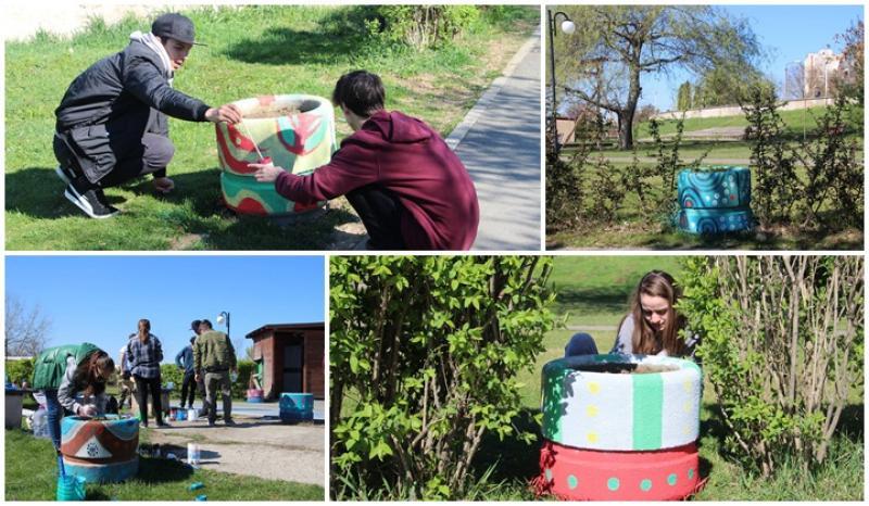 """În cadrul acţiunii """"Mai frumos, mai luminos!"""", elevii ai Colegiului de Artă """"Sabin Drăgoi"""" au dat o față nouă, mai veselă, aleii de acces din Parcul Europa"""