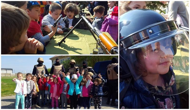 Porţi deschise la Jandarmeria Arad ! Preşcolarii şi elevii fascinaţi de exerciţiile demonstrative ( FOTO/ VIDEO )