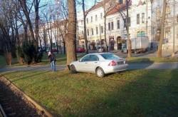 Greu de înteles cum a ajuns cu maşina în copac pe Bulevard!