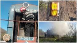 O locomotivă a luat foc în halta Nadăş (Galerie FOTO)