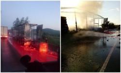 La intrare în Căpruța, un TIR a luat foc în mers !