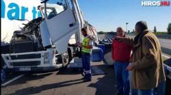 ACCIDENT cumplit ! Tir înmatriculat în Arad implicat în accident