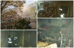 Un apartament de pe calea Aurel Vlaicu a fost cuprins de flăcări