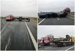 Trafic îngreunat pe sensul de mers spre Timișoara, pe autostrada A1 de un accid ...