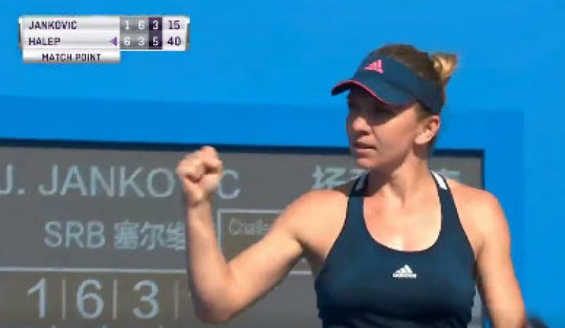 Simona Halep a bătut-o pe Jankovic și s-a calificat în optimile turneului din Shenzhen. (VIDEO)