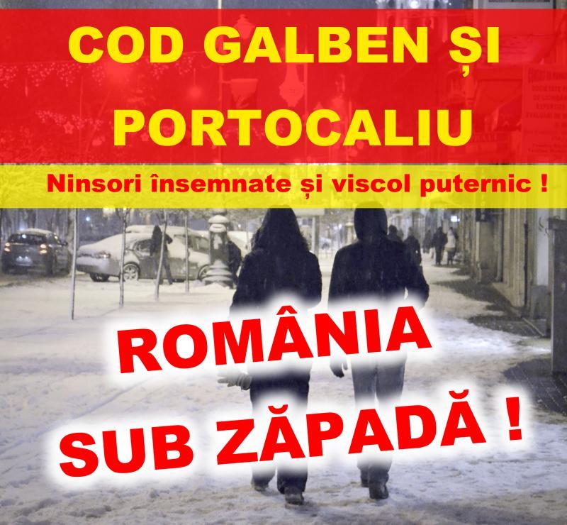 Jumătate din România sub COD GALBEN și PORTOCALIU!!! Sunt anunțate temperaturi și fenomene extreme !