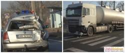 Update! Accident în Sâmbăteni între o autocisternă şi un autoturism (FOTO/Video declaraţii)