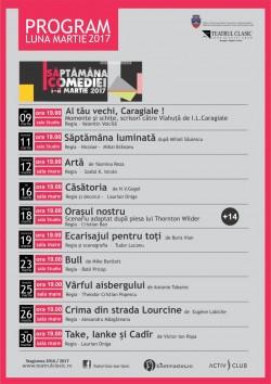 """Programul lunii Martie 2017 la Teatrul Clasic ,,IOAN SLAVICI"""" Arad"""