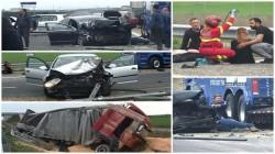 Scene dramatice pe autostrada A1. Accident grav pe autostradă în zona Pecica, 4 victime ajunse la spital una decedată ! (Galerie FOTO)