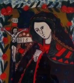 """Exponatul lunii aprilie, cu prilejul Sărbătorilor Pascale, icoana """"Maica Domnului jalnică"""""""