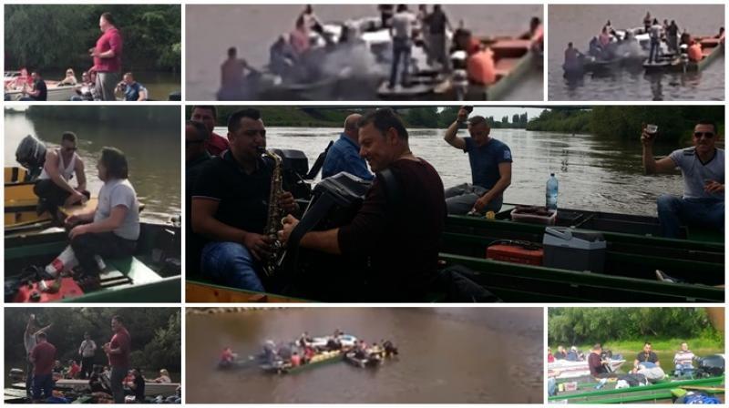 Cea mai indedită petrecere de 1 Mai a fost a unor arădeni care au sărbătorit în bărci pe Mureş, cu mici, bere şi lăutari! (FOTO/Video)