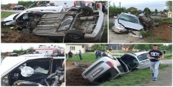 Accident spectaculos în comuna arădeană Zădăreni(Galerie FOTO)