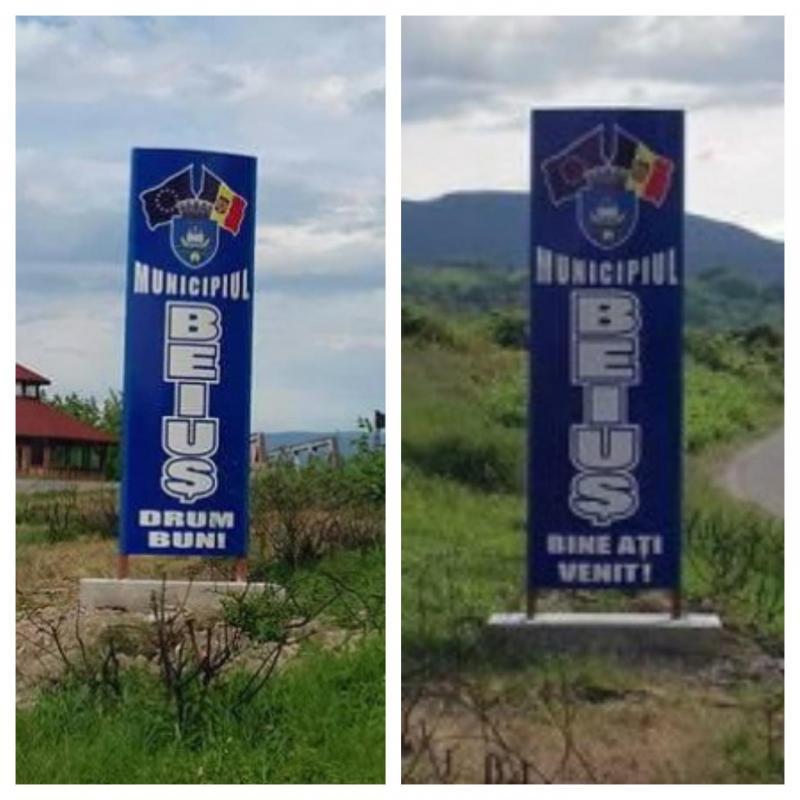 Au făcut o GAFĂ mare ! Muncitorii care au montat indicatoarele de intrare și ieșire din Beiuș s-au făcut de râs !