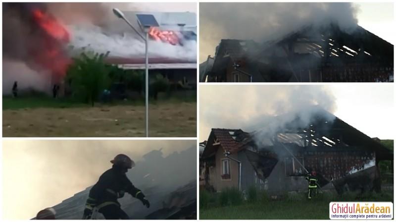 Incendiu într-un cartier din Arad, o casă a ars în întregime lovită de un fulger! (Galerie FOTO)