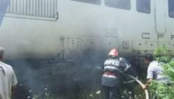 O locomotivă a luat foc la Bătuța !