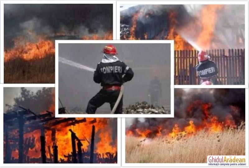Cinci incendii în mai puţin de 24 de ore! Pompierii trag un semnal de alarmă!