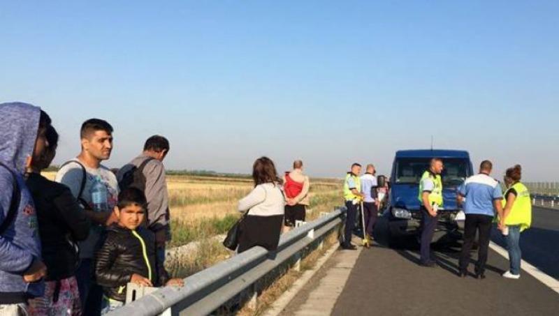 Accident pe autostrada Timișoara-Lugoj. Un microbuz condus de un şofer bulgar şi un autoturism, s-au izbit puternic