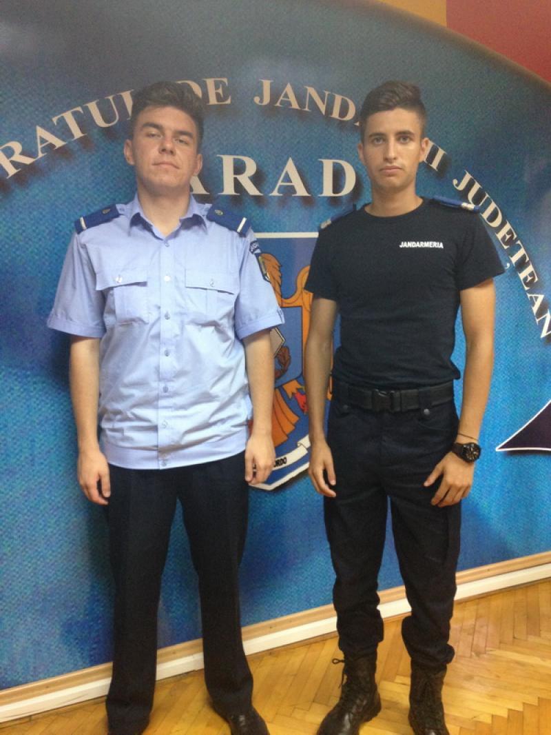 Doi absolvenți ai instituțiilor militare de învățământ ale M.A.I.  au fost repartizați la Inspectoratul de Jandarmi Județean Arad