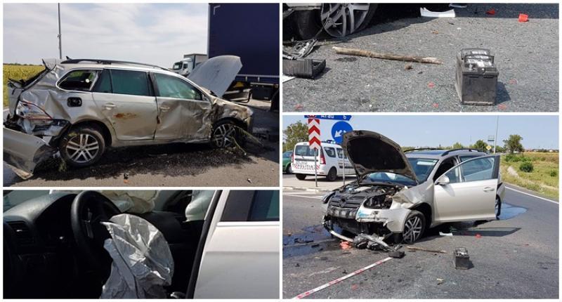 Accident spectaculos la ieşirea din Arad! A sărit cu maşina peste sensul giratoriu! [Galerie FOTO]