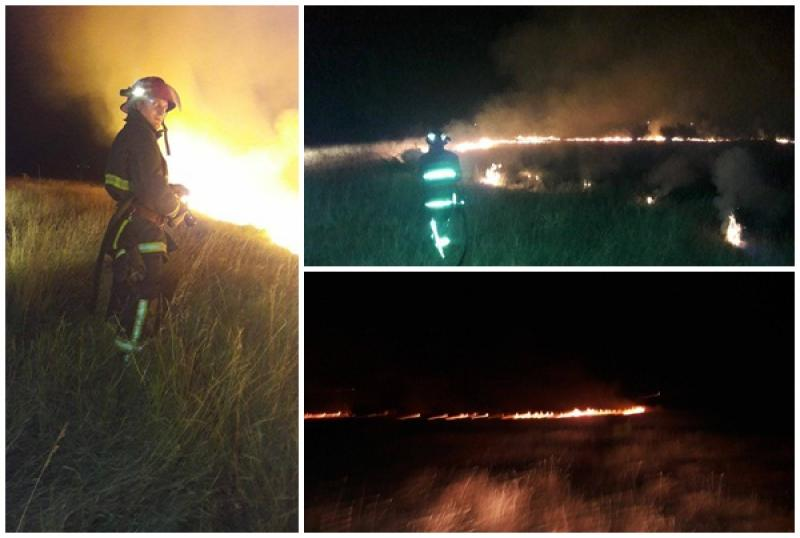 Noapte grea pentru pompierii din Arad! Focul a cuprins o pajişte din Micalaca ameninţând casele din zonă!