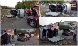 Grav accident de circulaţie în Micălaca! Un Matiz a fost SPULBERAT fiind proiectat pe liniile de tramvai | FOTO!
