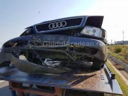 Maşină răsturnată pe DN79 între Arad şi Sânleani