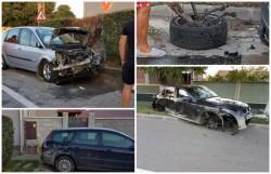 GALERIE FOTO- Accident spectaculos în Bujac! În urma impactului, un BMW a rămas fără trei roţi