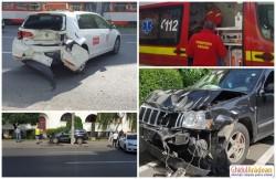 FOTO- Instructor auto rănit în accident de circulație în fața Liceului de Arte !