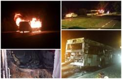 Un autobuz care transporta muncitori din zona industrială a ars ca o torţă pe centura Aradului