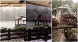 Video spectaculos din timpul urgiei de la Moneasa. Un preot spunea rugăciuni în timp ce terasa pensiunii era luată pe sus!