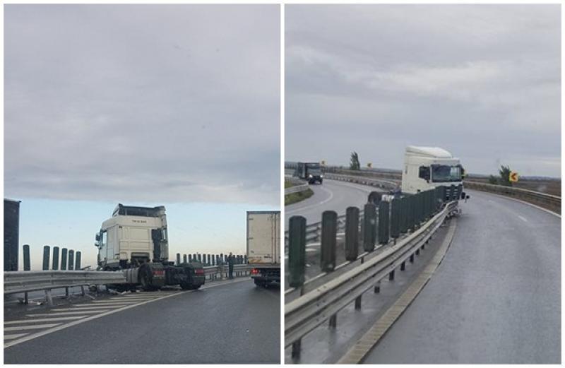 Accident de circulaţie la ieşirea de pe Autostrada Arad- Timişoara!
