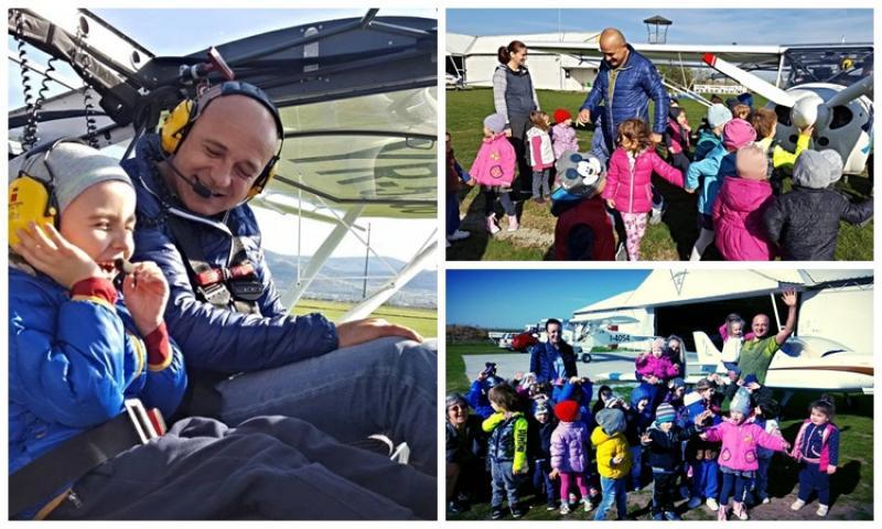 Preșcolarii de la Bambi au vizitat Aerodromul din Șiria. Pilotul arădean Cornel Tau i-a primit cu brațele deschise