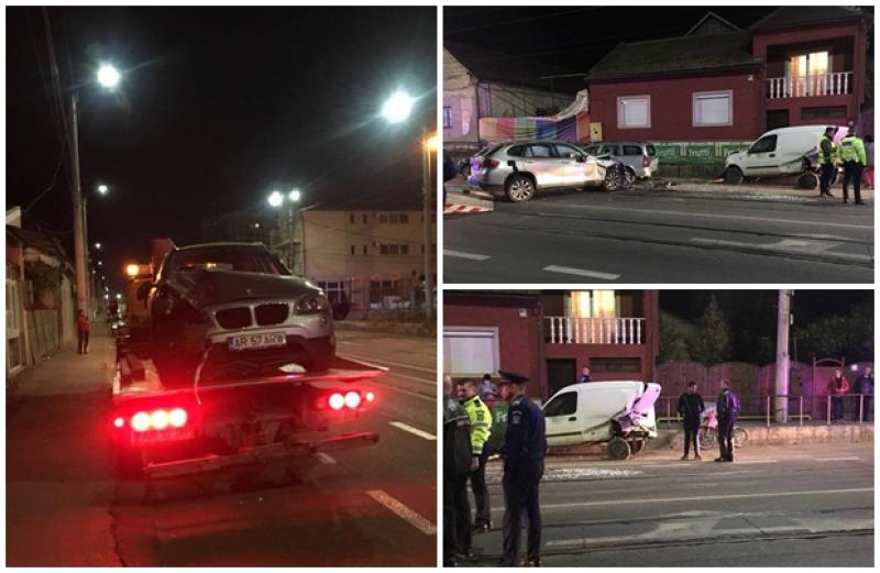 Accident în lanţ pe Strada Cocorilor! Trei maşini distruse de o şoferiţă la volanul unui BMW