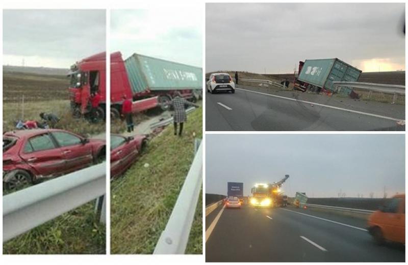 Accident cu victime pe autostrada Arad- Timişoara! Un camion şi un autoturism au fost distruse
