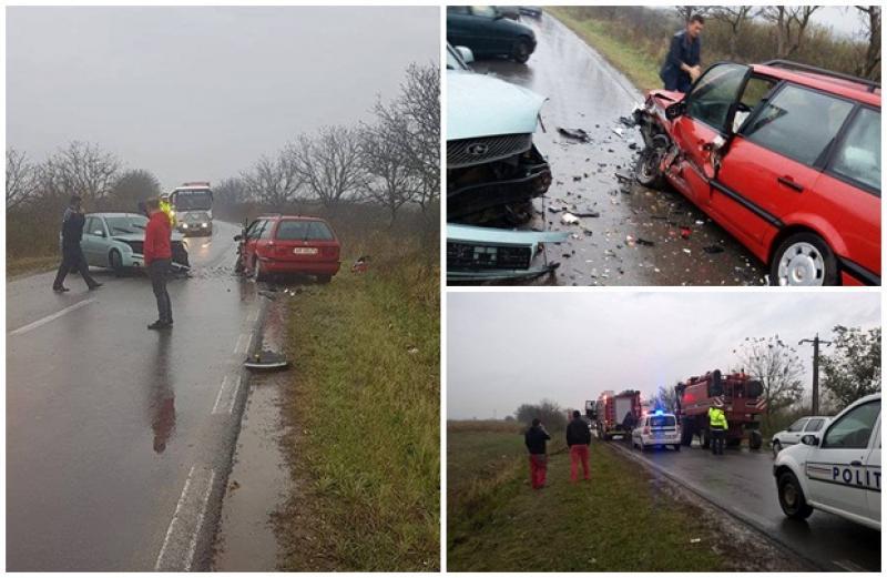 Două victime au rămas încarcerate în urma unui accident frontal între Beliu şi Bocsig