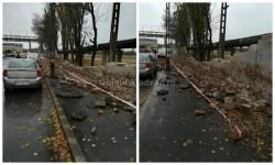 Vântul puternic a dobărât un zid pe strada 6 vânători al fostei fabrici IMAR
