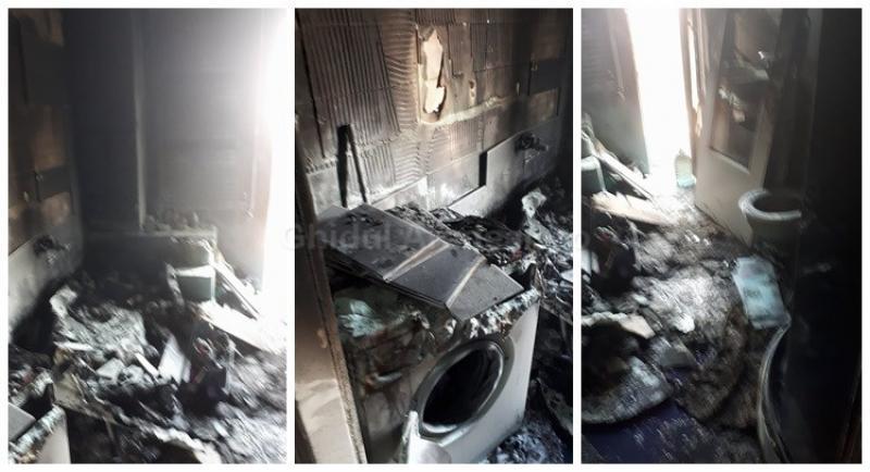 Incendiu declanşat de la cada din baie la un apartament din Micălaca