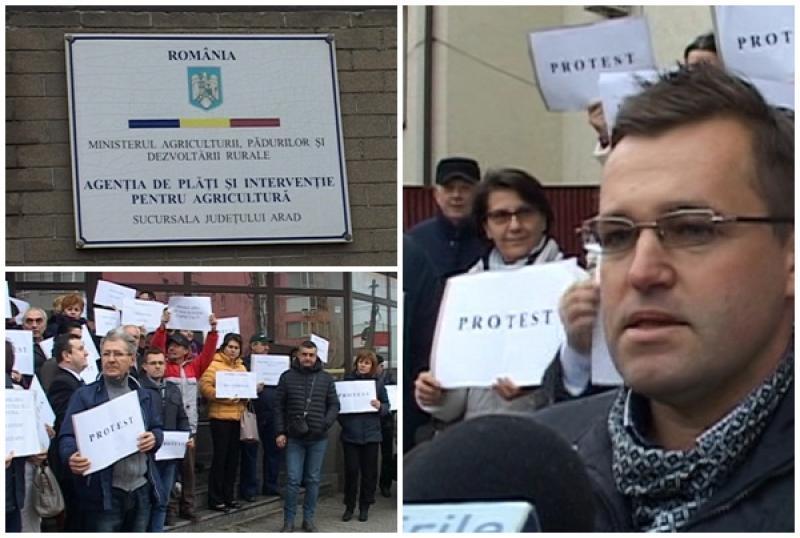 Protest al angajaţilor din cadrul Agenţiei de Plăţi şi Intervenţie în Agricultură Arad