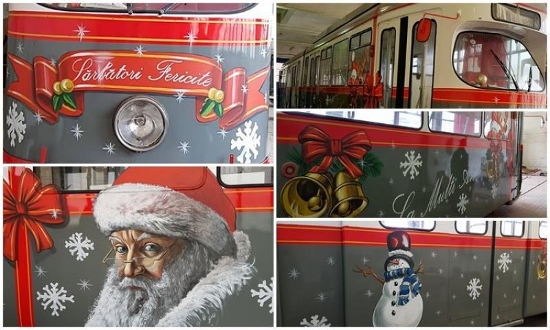 NOUL Tramvai al lui Moş Crăciun este gata de a-i plimba pe cei mici!