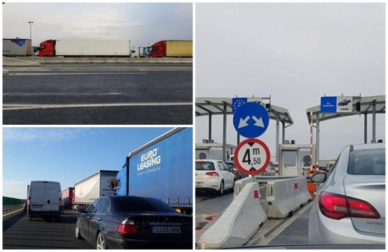 Coadă de aproape 15 km şi câte 8 ore de aşteptare la ieşirea din ţară, pe la Vama Nădlac II