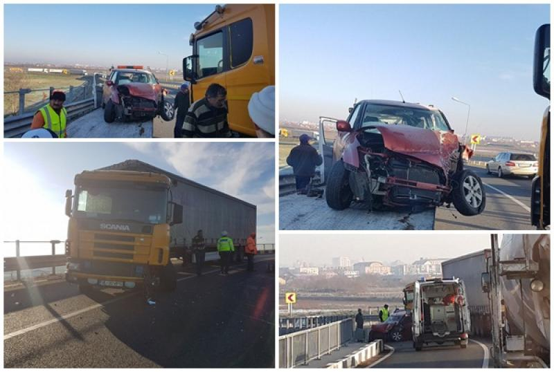 Accident rutier la ieşirea de pe Autostrada A1 în dreptul Aeroportului Internaţional Arad
