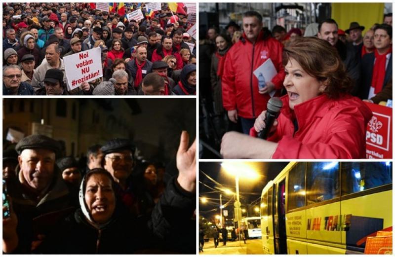 1 Decembrie scăldat în violenţă! PSD aduce 50 de autocare cu simpatizanţi să se opună protestului #REZIST