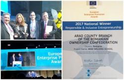 Şcoala de sudori  din Arad a reprezentat România la Premiile UE pentru promovarea antreprenoriatului