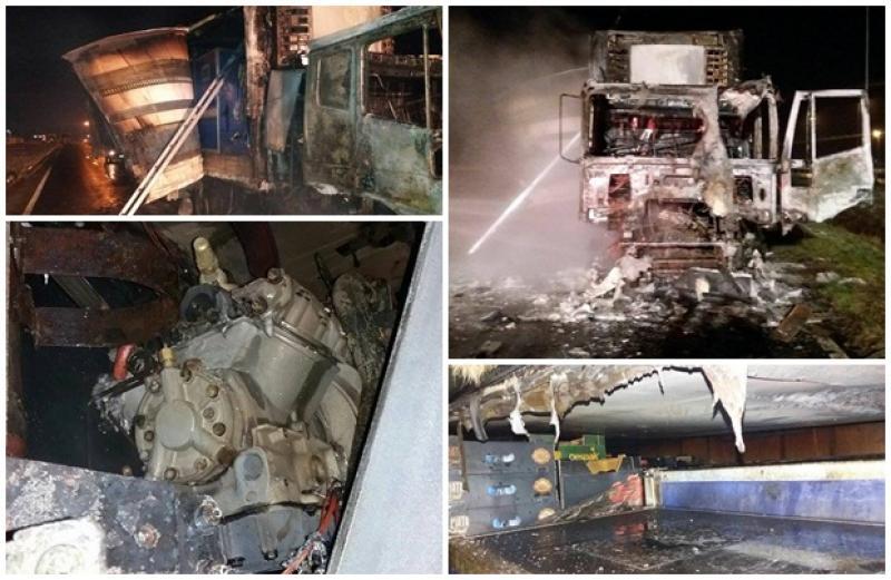Un camion a fost cuprins de flăcări pe autostrada Arad- Timişoara. Pompierii arădeni au intervenit cu două autospeciale