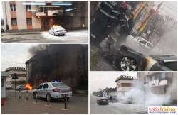 Un autoturism BMW a fost cuprins de flăcări în parcarea unui bloc din localitatea Vladimirescu