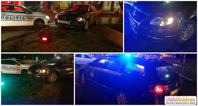 Un taximetrist de la ALFA a spulberat un semafor şi a fugit de la locul accidentului! Acum îl caută Poliţia!